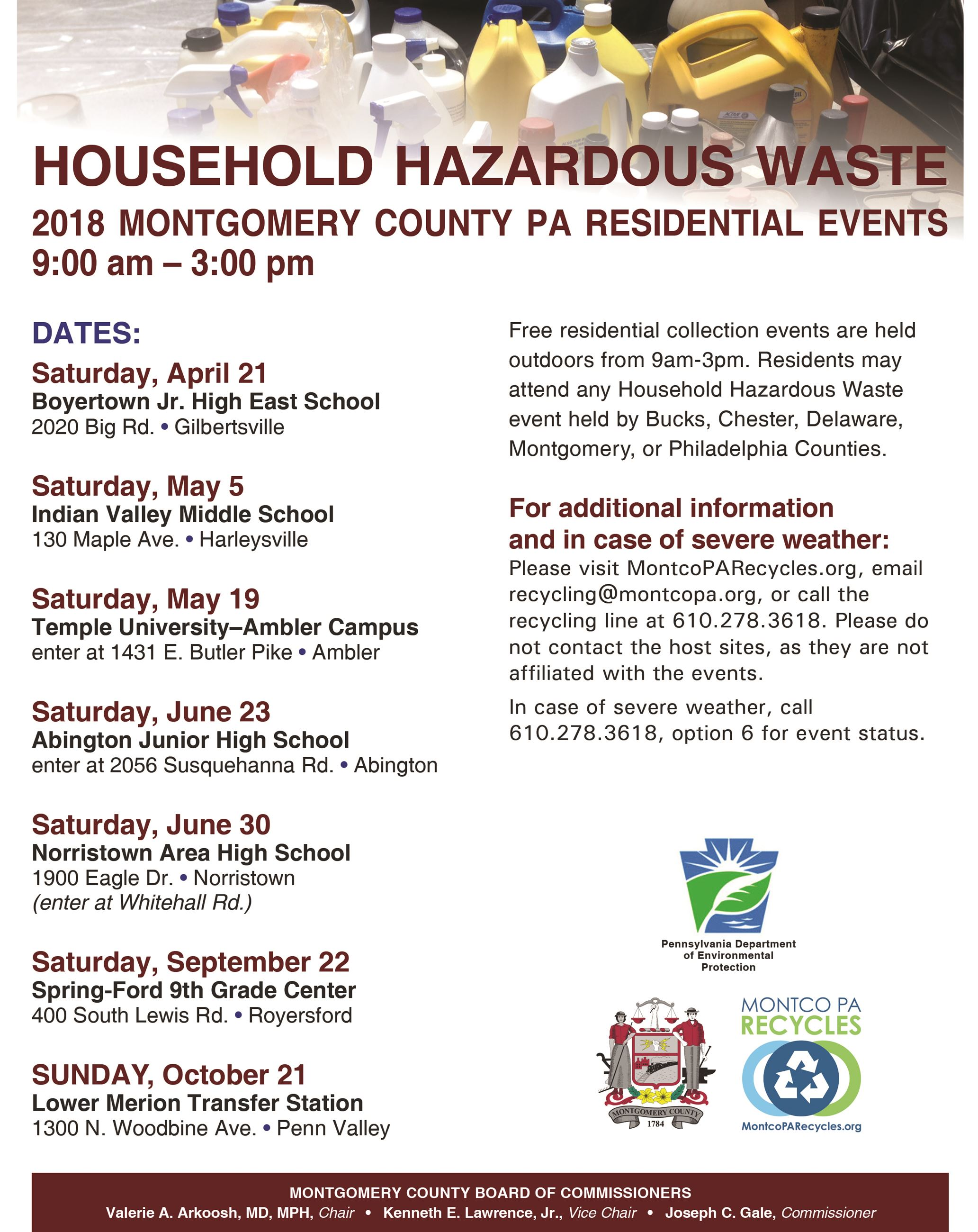 2018 Household Hazardous Waste Flyer